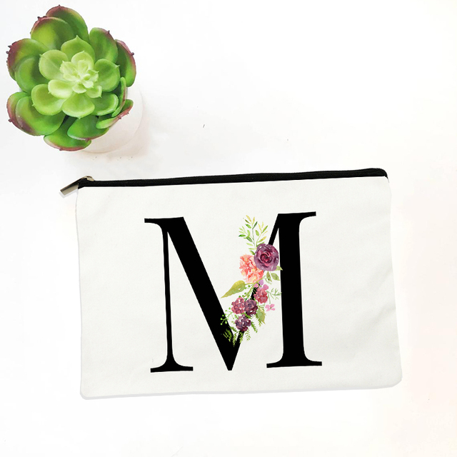 Bridesmaid Makeup Bag Flowers Alphabet Printed Canvas Storage Bag Cosmetic Bags for Bride Bridesmaid Proposal Gift 6