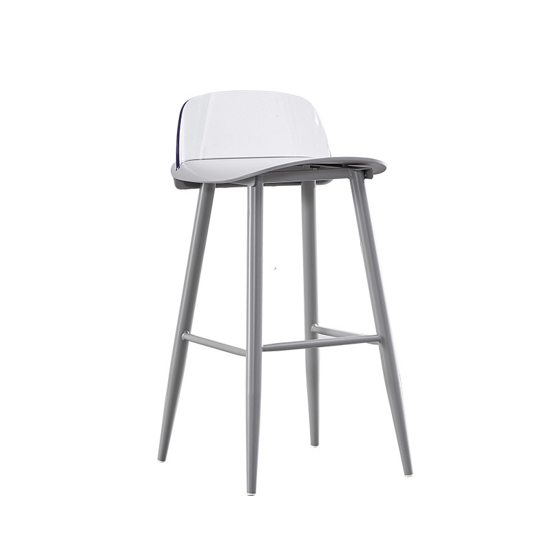 Transparent Backrest Bar Chair Modern Minimalist Wrought Iron Leisure Nerd High Stool Milk Tea Shop Front Desk Nordic