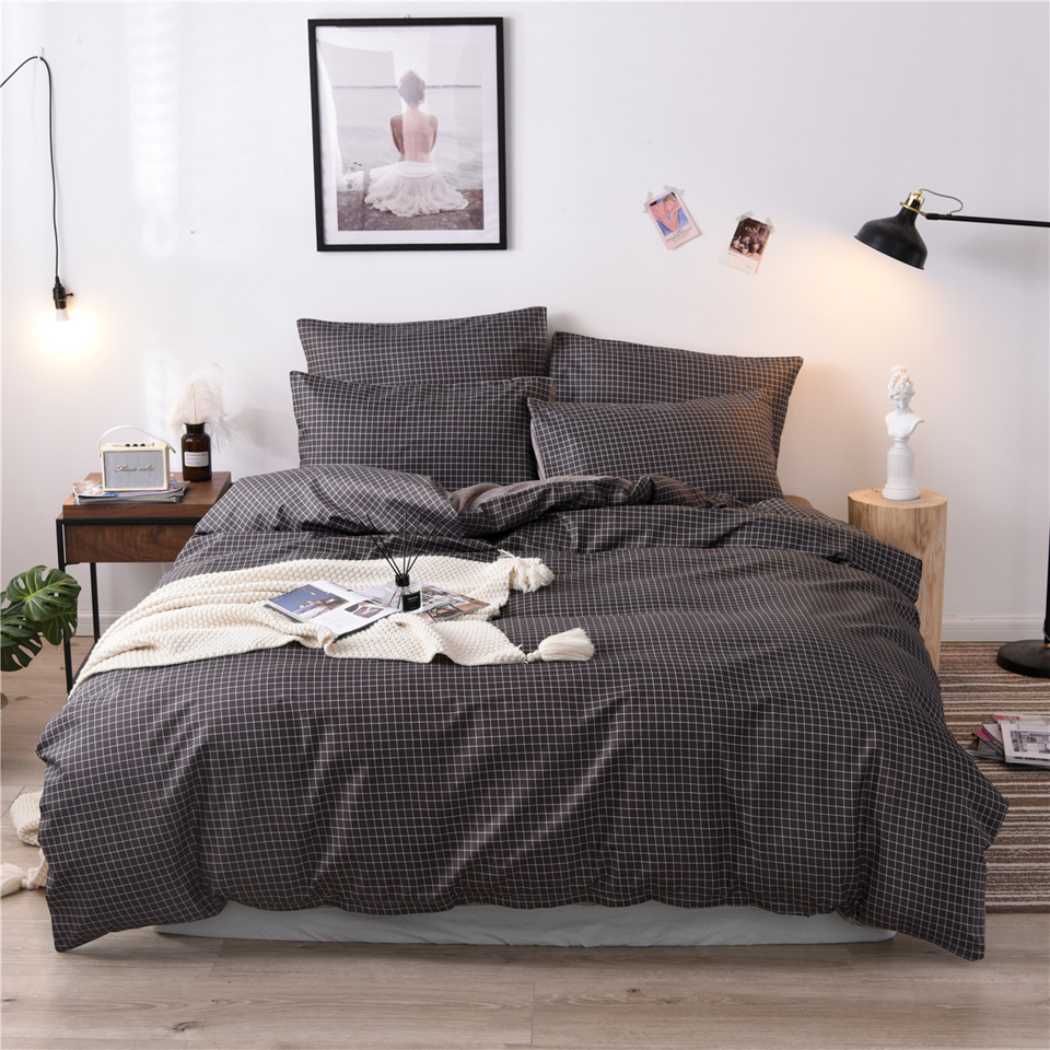 Pure Grid Grey Blue Pink Black Bed Linen Simple Duvet Cover Sets 3Pcs Bedding Set King Queen Single Twin Full Size Quilt Covers