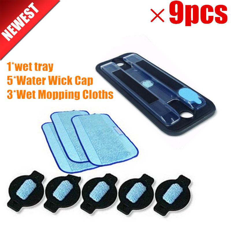 1*Original wet tray+3*Wet Pro-Clean Mopping Cloth +5*Water Wick Cap for iRobot Braava 380 380t 5200 Mint5200C 4200A 4205