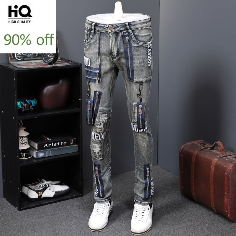Autumn Winter New Style Vintage Men Jeans Fashion Slim Fit Top Brand Motorcycle Denim Pants Zippers Straight Jeans Streetwear
