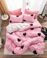 cute heart bed linens pink Bedding Sets gift for kids Boy girls Duvet Cover Sheet Pillowcases quilt Cover Set Family Bed 3/4Pcs