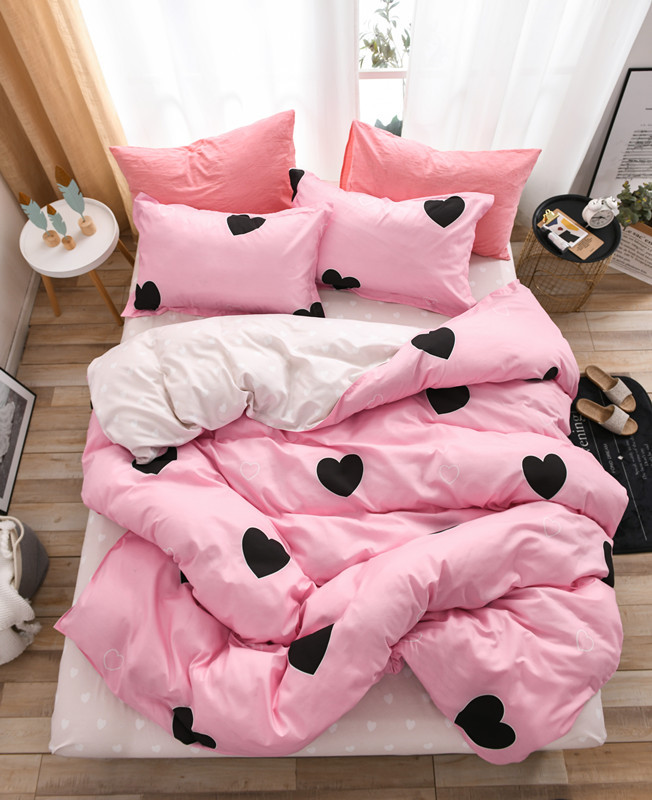Home Textile Bedding Sets Pink Heart Cute Gift For Kids Boy Girls Bed Linen Duvet Cover Sheet Pillowcases Cover Set 3/4Pcs