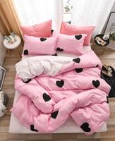 Home Textile Bedding Sets pink heart cute gift for kids Boy girls Bed Linen Duvet Cover Sheet Pillowcases Cover Set 3/4Pcs