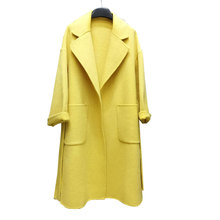 2019 Turn Down Collar Women Wool Coat Loose Style Oversize Women Woolen Long Coat Winter Wool Jacket Casaco Feminino cheap kobykoyi Polyester 80 Wool Wide-waisted Casual vintage Solid Open Stitch Regular Turn-down Collar 2019102034 Full Wool coat for women