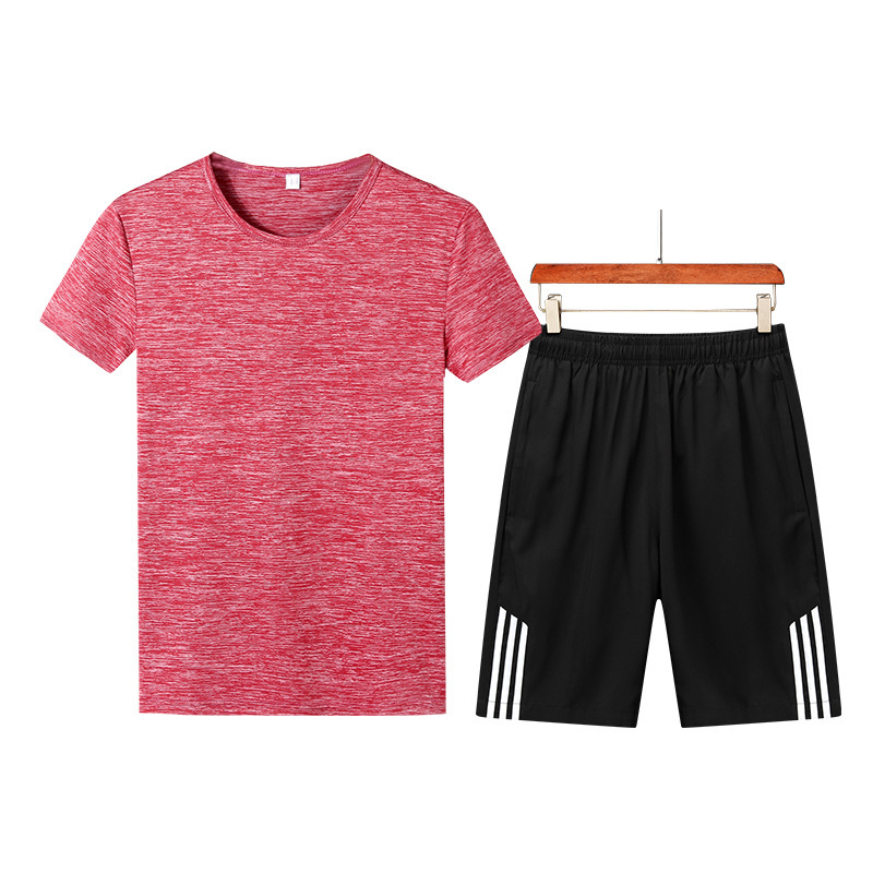 Summer New Style Men Crew Neck Solid Color Quick-Dry Short Sleeve T-shirt Shorts Large Size Leisure Sports Suit