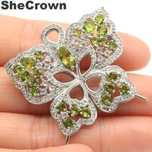 37x37mm Classic Created Butterfly Shape Green Peridot CZ Gift Silver Brooch