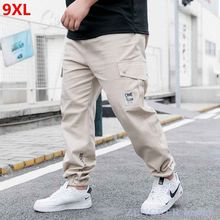9XL overalls men's casual trousers trend summer thin section plus size sports beam feet nine points men Cargo Pants