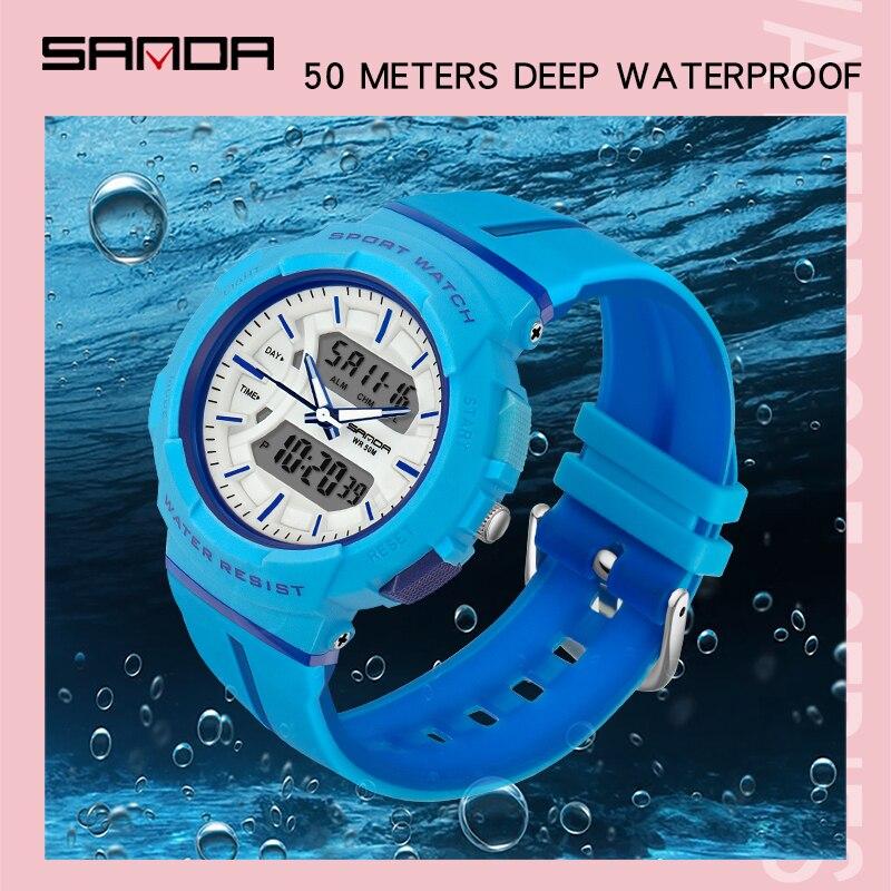 Montres femme mode robe Bracelet haut marque SANDA montre-Bracelet luxe Anti-chute chronomètre montre numérique fille heure réveil 2