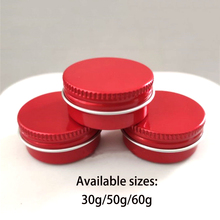 купить 30g 50g 60g Red Aluminum Jar Cosmetic Makeup Cream Bottle Small Refillable Lotion Packaging Metal Containers Free Shipping по цене 1171.71 рублей