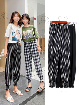 New Fashion Women summer Thin Casual Pants Clothes  Plaid  Dot Female Harem Pants Loose  Pants Clothing G705 2019 summer big code harem pants skinny students thin sports pants female loose white side nine points casual women pants