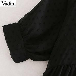Image 3 - فستان نسائي من قطعتين من الشيفون باللون الأسود فستان ميدي بأكمام قصيرة فساتين مستقيمة غير رسمية للنساء من Vadim فساتين أنيقة من vestidos mujer QC859