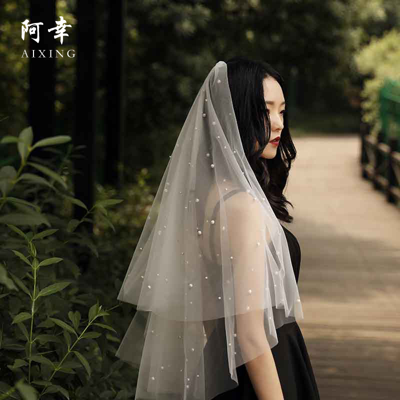 Beautiful Long Pearl Veil One Layer Bridal Veil Cathedral Wedding Veil With Pearls 2019 Bride Accessories Velo Da Sposa