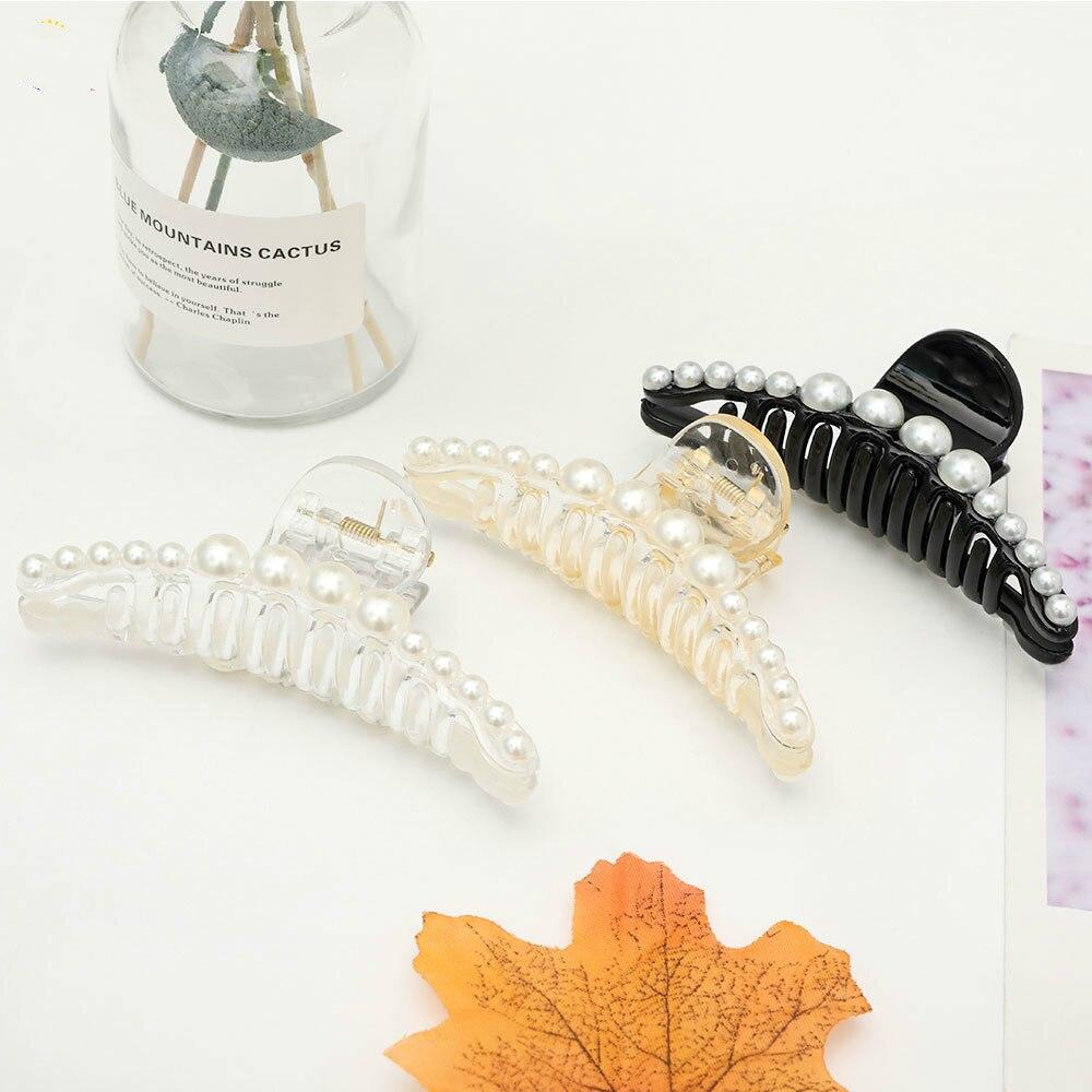 2020 Korean Hair Claw Clip Pearl Hairpin Back Head Clip Simple Large Hair Claw Clips INS Fashionable Hair Clip Accessories