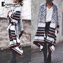 Everkaki Boho трикотажные кардиганы свитер, Женское пальто зимние свободные толстые теплые кардиганы куртки женские осень зима