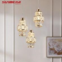 Nordic led luzes pingente de cristal ouro pendurado lâmpada para mesa jantar barra cozinha sala estar lampada industrial moderna luz