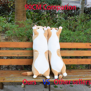 Image 4 - 플러시 장난감 동물 고양이 귀여운 크리 에이 티브 긴 부드러운 장난감 사무실 점심 휴식 낮잠 베개 쿠션 어린이를위한 박제 선물 인형
