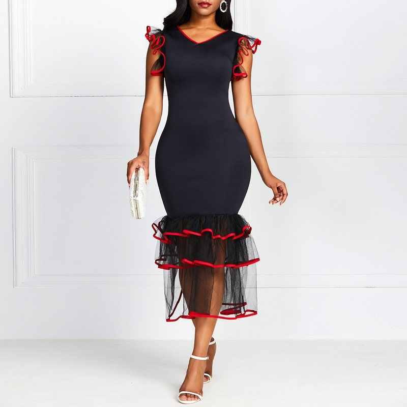 Винтажный элегантный пикантный облегающий платье русалки для женщин с v-образным вырезом и рюшами в стиле ретро шикарные африканские женские модные черные платья