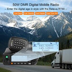 Image 2 - Retevis RT90 DMR דיגיטלי נייד רדיו שני בדרך רדיו ווקי טוקי 50W VHF UHF Dual Band חם חובב רדיו משדר + כבל