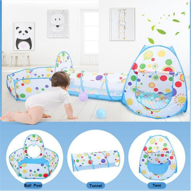Kids Portable Foldable Dry Pool Play Tent House Children Ocean Ball Pool Pit Toys Teepee With Basketball Hoop For Baby Activity
