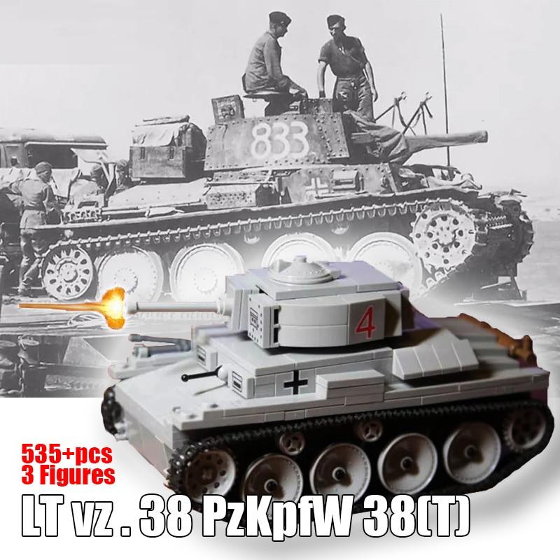 Toys T Plastic Building Block Tank Set w//Figures WWII LT vz.38 PzKpfw 38