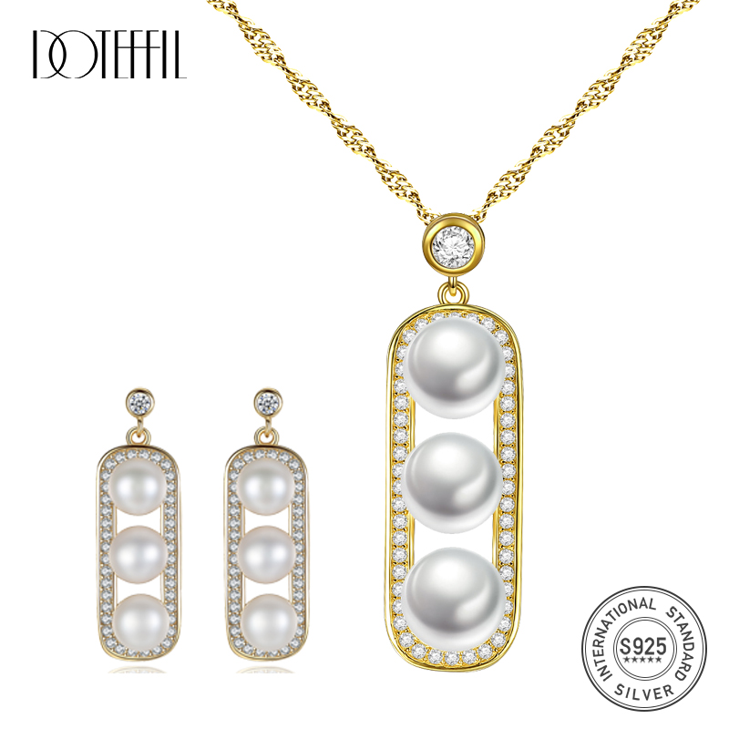 DOTEFFIL 925 Silver Necklace Gilt Pea Three pearl Jewelry Set Earring/Necklace Women Fine Jewelry Natural Freshwater Pearl Gifts