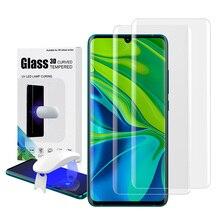 Protetor de tela de vidro temperado para xiaomi note 10 com impressão digital desbloquear uv filme vidro capa completa para mi nota 10