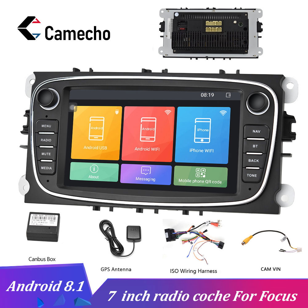 Camecho 2 DIN 7'' <font><b>Android</b></font> 8.1 Car Multimedia Player GPS Car Radio Wifi Car Player For Ford/Focus/S-Max/Mondeo <font><b>9</b></font>/Galaxy/C-Max image