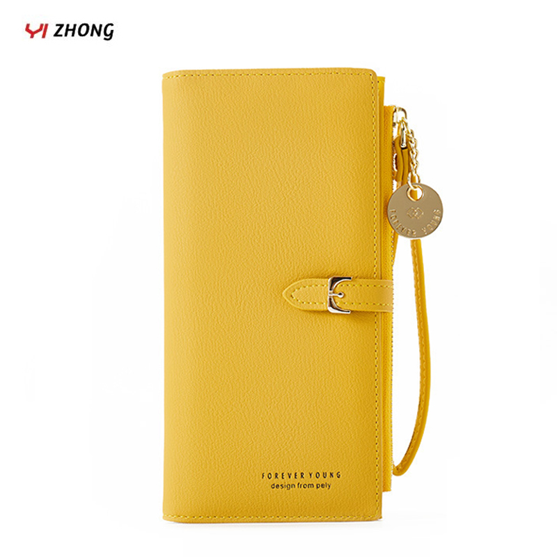 YIZHONG Fashion Women Wallets And Purses Wristband Long Female Wallet Clutch  Zipper Phone Pocket Card Holder Ladies Carteras