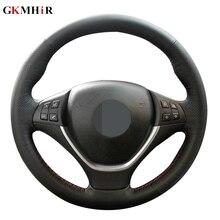 غطاء عجلة قيادة من الجلد الأصلي ، غطاء عجلة قيادة من الجلد الطبيعي الأسود مخيط يدويًا لسيارات BMW E70 X5 2006 2013 E71 X6 2008 2014