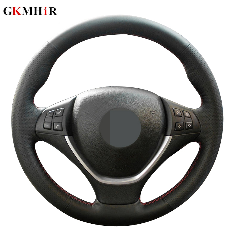 Black Artificial Leather DIY Hand-stitched Car Steering Wheel Cover For BMW E70 X5 2006-2013 E71 X6 2008-2014