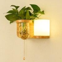4 tipos Nordic lâmpada de parede moderna madeira maciça parede planta verde lâmpadas de cabeceira quarto sala de estar corredor escadas iluminação arandela|Luminárias de parede|Luzes e Iluminação -