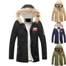 Mens Winter Cap Cotton Jacket Velvet Coat Parkas Hooded Down Suit