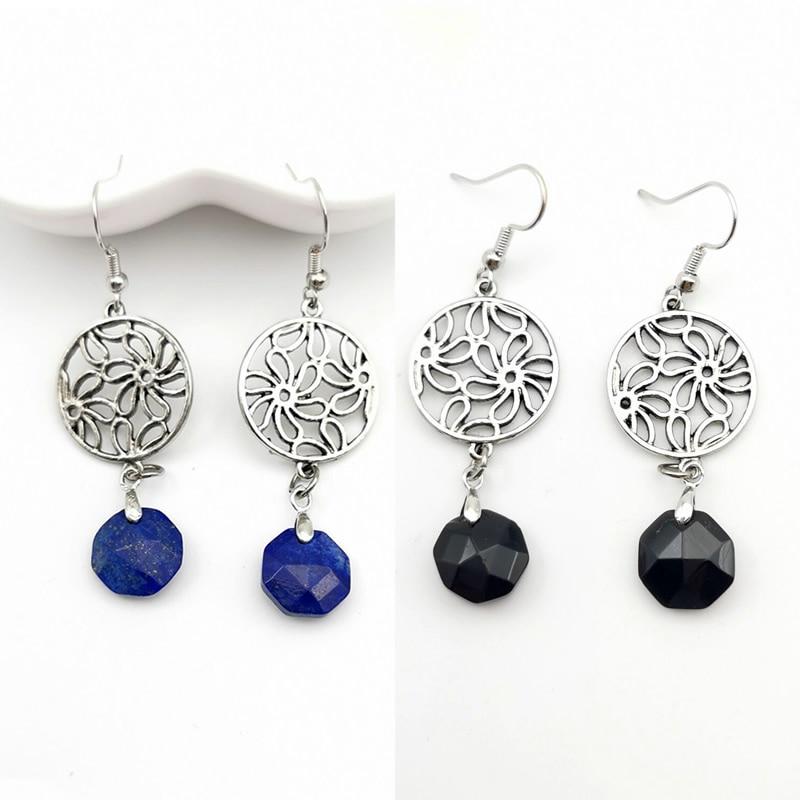 Earrings Flower Round Hollow Stainless Steel Earrings Women Gift section Crystal Fashion Dangle Earrings Statement Earrings
