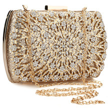 Gold Evening Bags Hard Surface Box Bag Luxury Rhinestone Clutches Designer With Chain Wedding Shoulder Rectangle Pouch