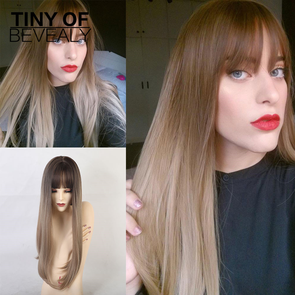 Long Straight Natural Synthetic Wigs With Bangs Ombre Brown Wigs  For Woman Cosplay Wigs Heat Resistant Fiber Wigs