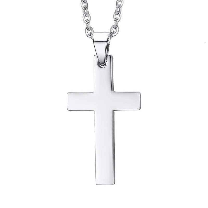 """Klasyczne mężczyźni krzyż wisiorek naszyjnik dla mężczyzn ze stali nierdzewnej naszyjnik oświadczenie Cruz biżuteria 24 """"Link Chain"""