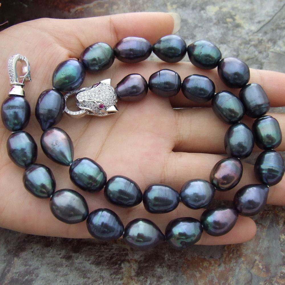 Chaud 11-13MM naturel mer du sud BAROQUE noir collier de perles 18 pouces léopard fermoir