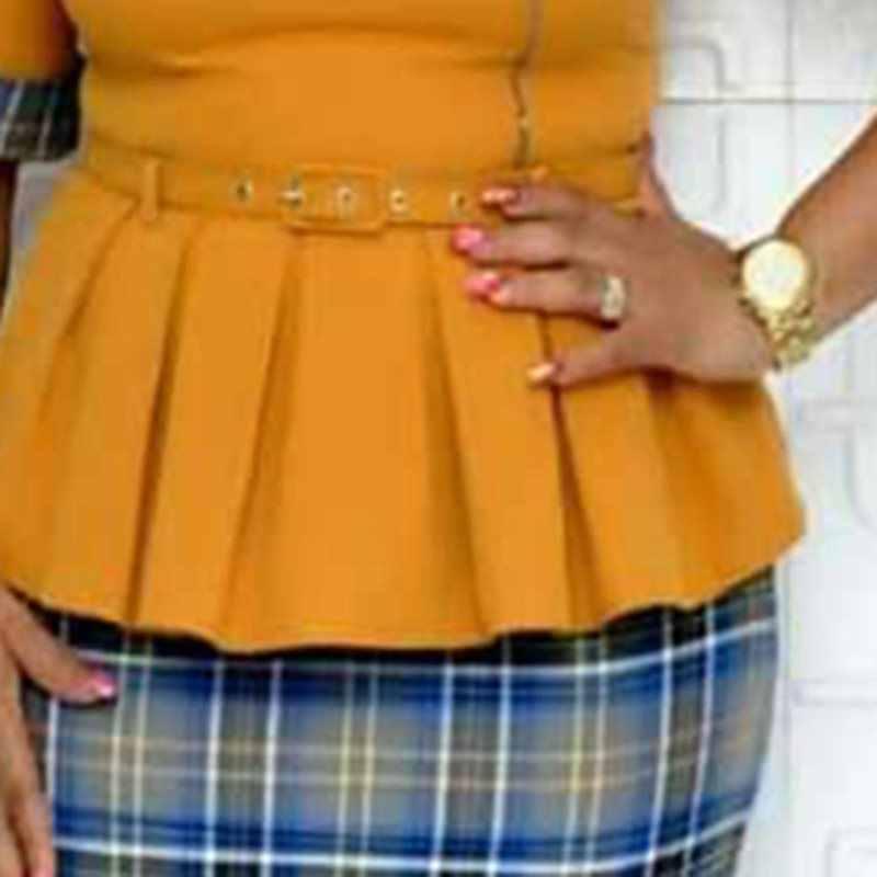 Винтажные вечерние женские платья 2019 осенние Лоскутные элегантные офисные женские Ретро клетчатые облегающие платья поддельные две части длиной до колена