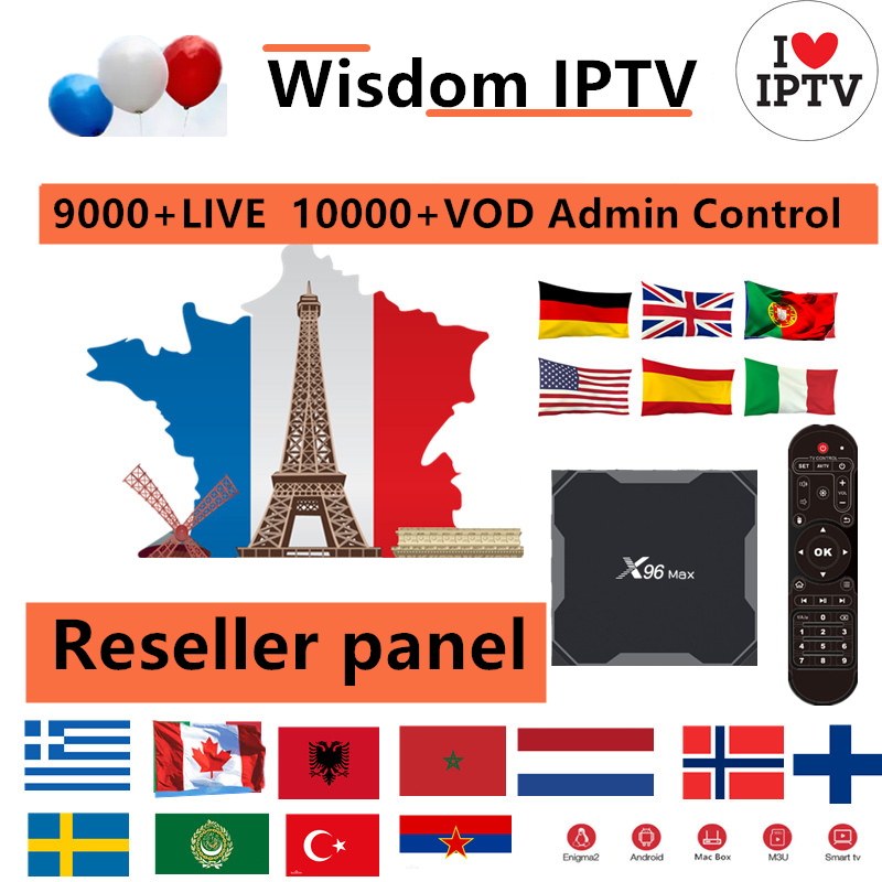 Europe IPTV Control Panel With Codes Contain 9000+Live 10000VOD For IPTV Reseller French IPTV Spain Portugal Italy Canada Adult