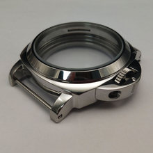 parnis 44mm stainless steel Silver polished watch case Fit 6497/6498 movement suitable(China)