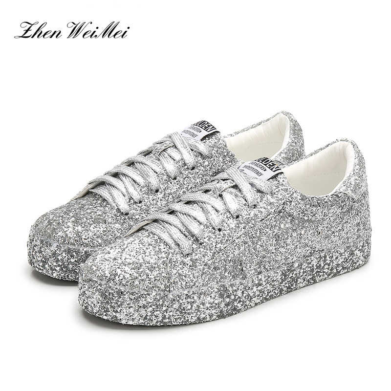 Brillant argent sneakerbaskets femmes chaussures femme plate-forme Sapatos Star toile chaussures hommes femmes bas classique chaussures de skateboard
