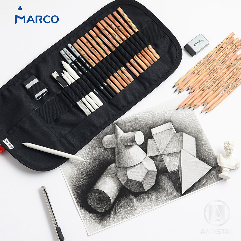 Andstal Marco 21pcs Professional Sketch Drawing Value Pack Set With Black Pencils Charcoal Pencils Art Tool Kit Graphite Pencils