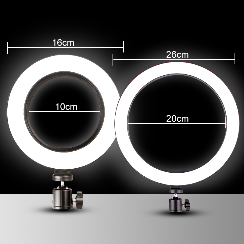 cheapest 16 colors 10inch RGB Ring Light Phone Selfie LED Photography Adjustable Dimmable Light Remote Controlling Fill Lamp Live YouTube