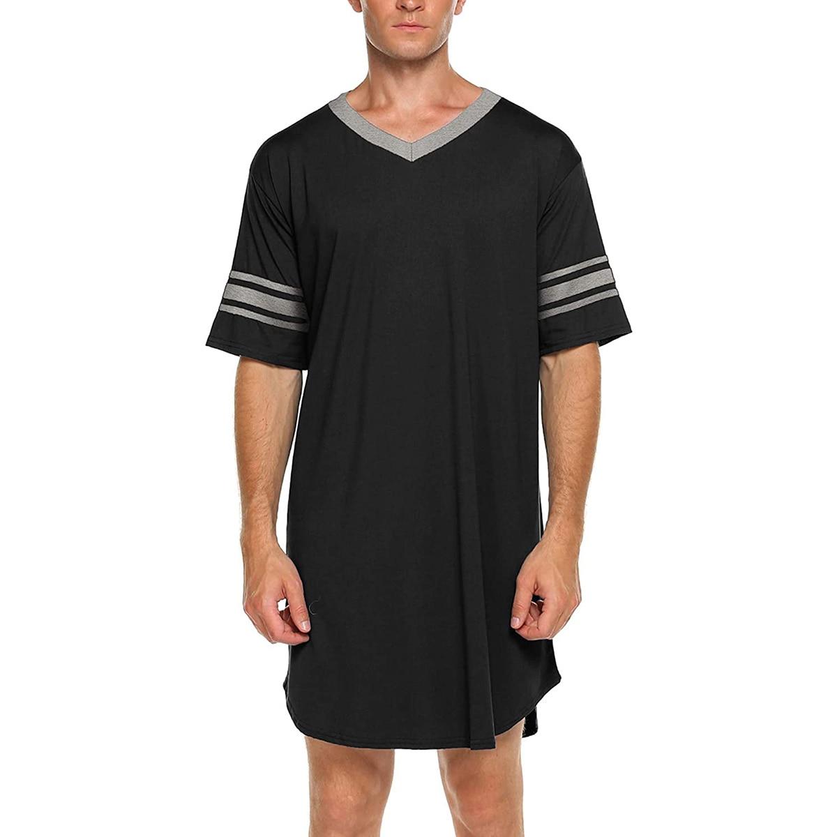 New Men Cotton Casual Short Sleeve Long Nightshirt Soft Loose Nightwear Sleepwear Blue/ Grey/ Black/ Red