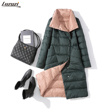 Luzuzi Women Double Sided Down Jacket Winter Turtleneck White Duck Down Coat Double Breasted Warm Padded Parkas Snow Long coat