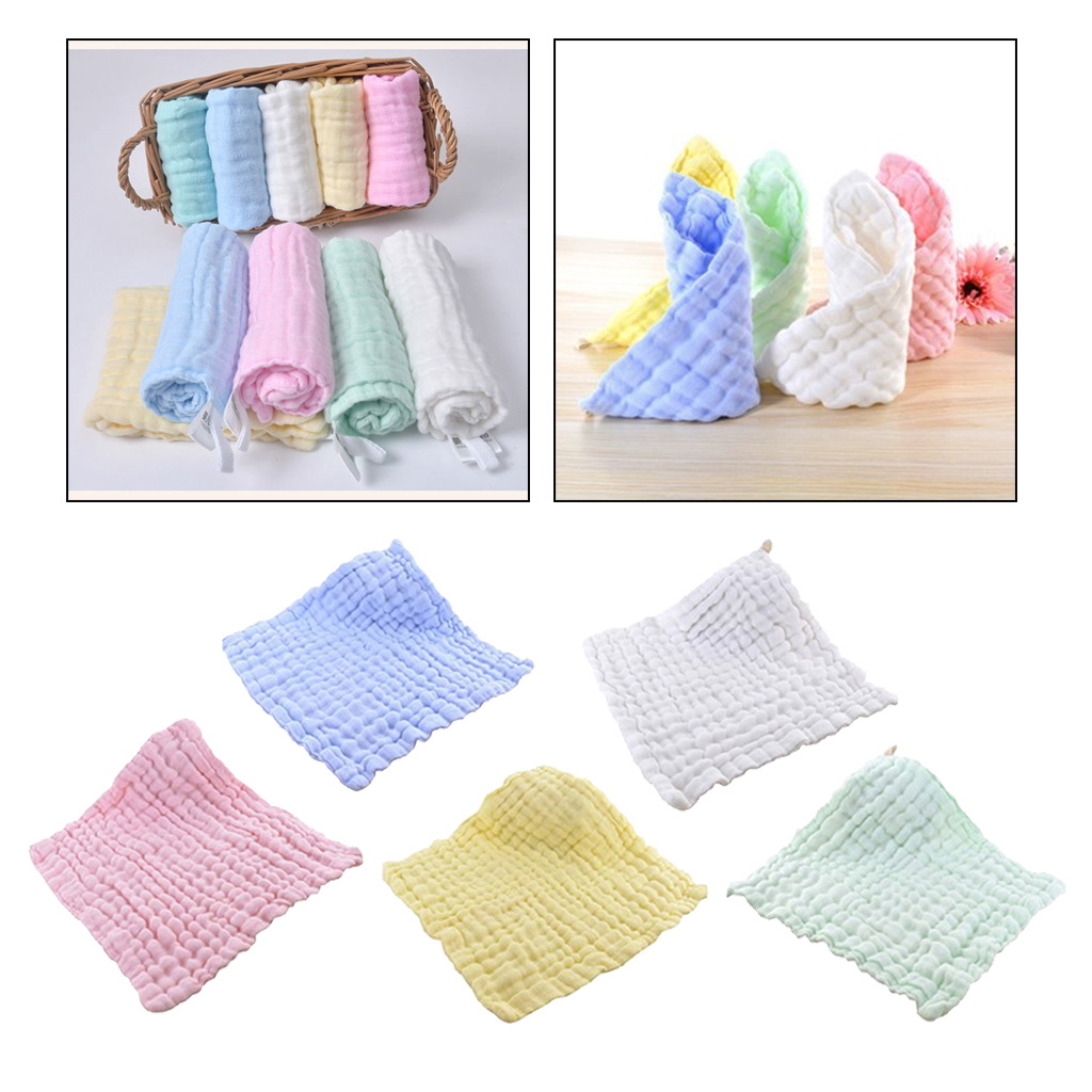 6 Layer Soft Gauze Cotton Face Saliva Towel Baby Bibs Wash Cloth Handkerchief Hanky For Child Multicolor