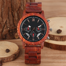 Red Sandalwood Strap Wooden Watch Men Large Dial with Luminous Pointers Delicate Wristwatch Business Clock Timepieces