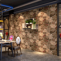 Vinyl Wallpaper 3D Brick Stone Modern Retro Restaurant Living Room Decor Wall Stickers Waterproof Wallpaper Roll