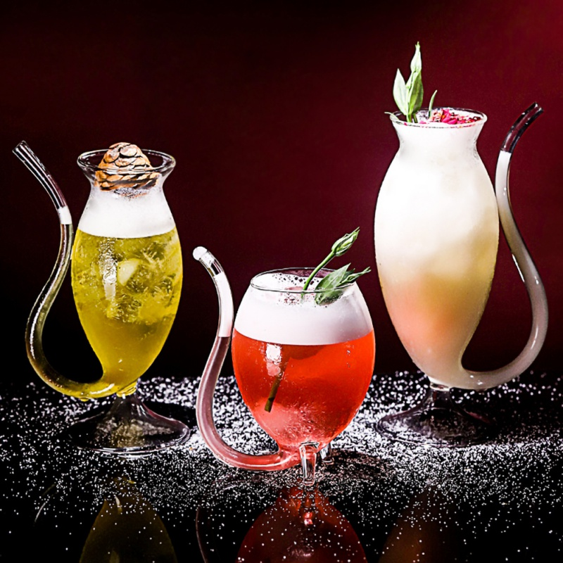3 Style 300ml Red Wine Glass Cup Whiskey Glass Heat Resistant Glass Sucking Juice Milk Cup Tea Wine Cup With Drinking Tube Straw